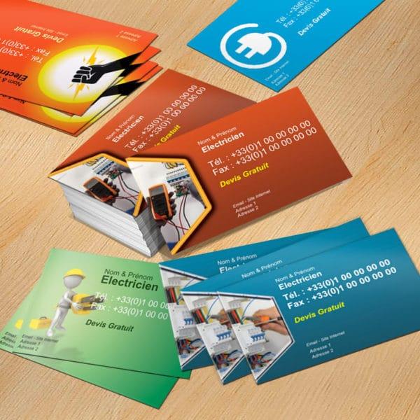 carte de visite express, imprimeur en ligne de votre Carte de visite Electricien rapide et pas cher en express, originale et design, personnalisée