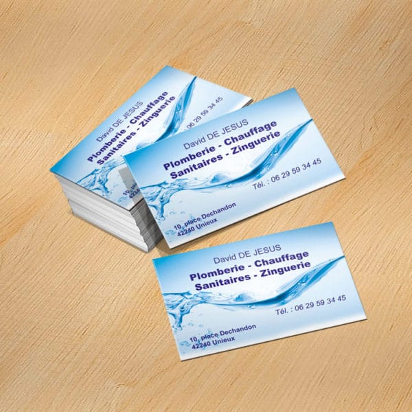 carte de visite express, impression rapide et pas cher de vos cartes de visite pour Plombier Chauffagiste, personnalisée, originale et pas chère
