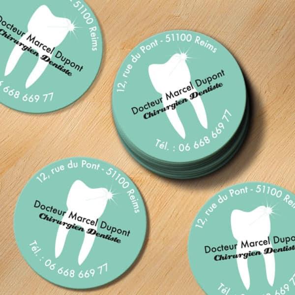 carte de visite express, votre imprimeur de carte de visite carrée design, originale, rapide et pas chère, coins arrondis sur mesure pour dentiste