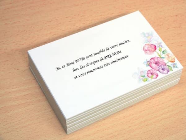 carte de visite express carte remerciement deces personnalise modele gratuit avec fleur