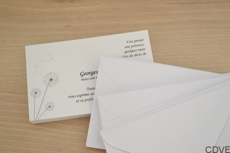 Carte De Remerciement Dcs Personnalise Avec Enveloppes Pas Chre