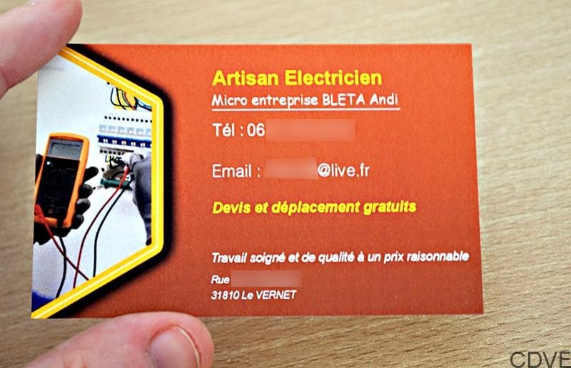Carte de visite personnalisable pour électricien en express