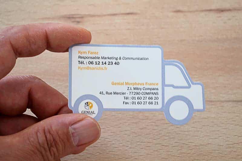 Carte de visite pas cher, impression de votre carte de visite pas cher, impression pas cher et rapide de votre carte de visite découpe à la forme, carte de visite en forme de camion, carte de visite pelliculage mat pas cher, carte de visite pas cher, carte de visite personnalisée pas cher